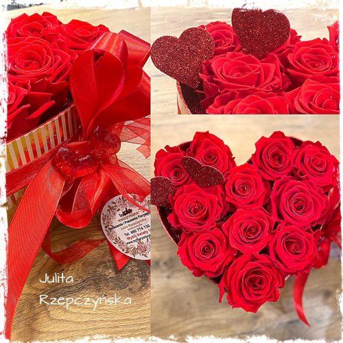 box wieczne róże -serce