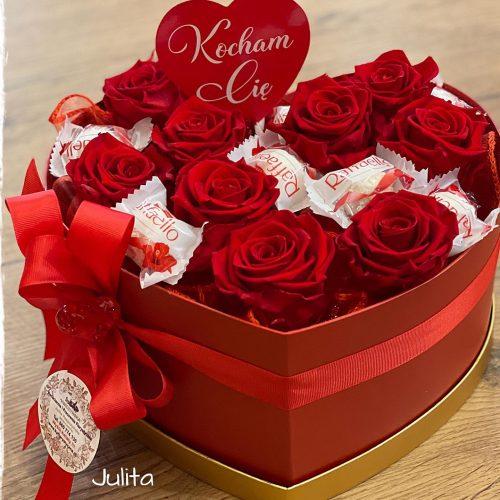 box wieczne róże -serce +refaello