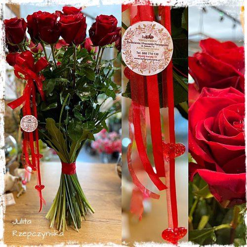 bukiet długich czerwonych róż