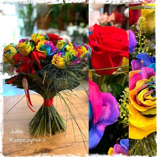 bukiet tęczowych róż1