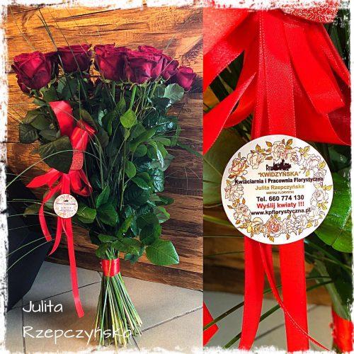 klasyczny bukiet długich róż