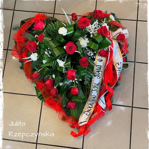 kompozycja funeralna - na florecie serce