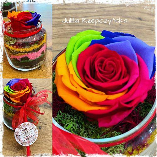 mini kompozycja z wieczną tęczową różą